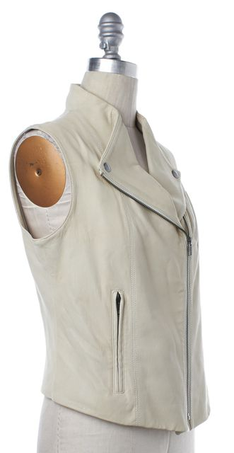 THEORY Ivory Lamb Leather Moto Zip Up Vest