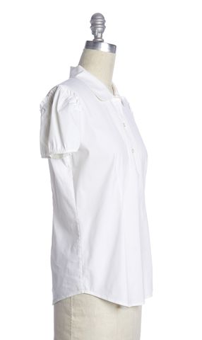 THEORY White Short Sleeve Blouse
