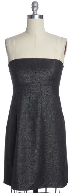 THEORY Silver Gray Wool Strapless Pencil Dress