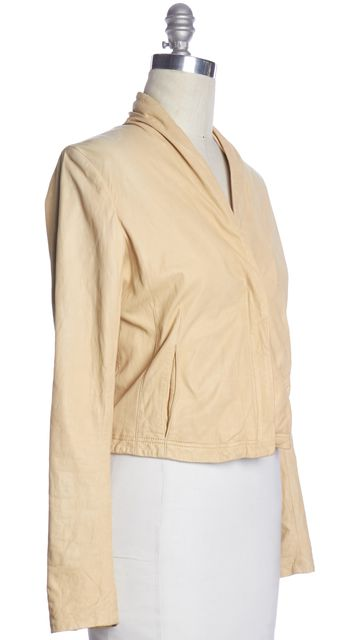 THEORY Beige Leather Basic Jacket