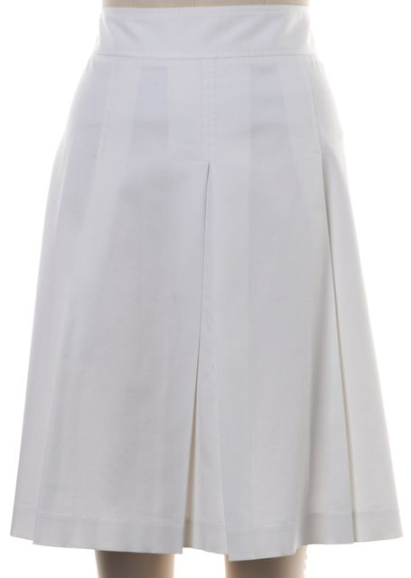 THEORY White Stretch Cotton Ashia Pleated Skirt