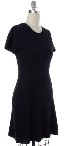 THEORY Navy Blue Black Short Sleeve Knit Sheath Dress