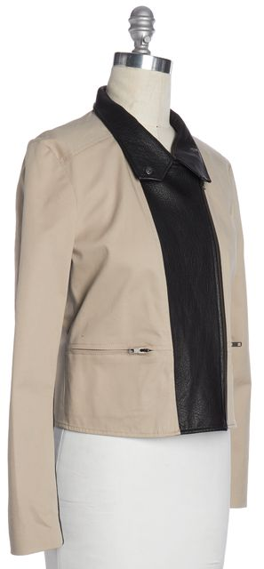 THEORY Beige Black Leather Collar Zip Up Jacket