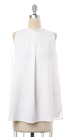 THEORY White Mock Turtleneck Pleated Tank Top