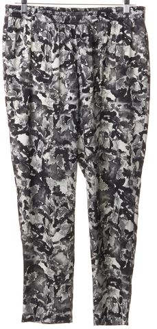 THEORY Gray White Geometric Silk Casual Pants