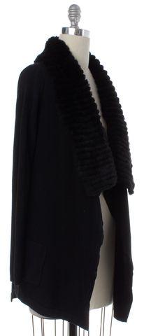 THEORY Black Wool Knit Rabbit Fur Trim Open Cardigan