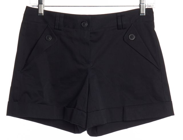 THEORY Navy Blue Cuffed Pleated Dress Shorts