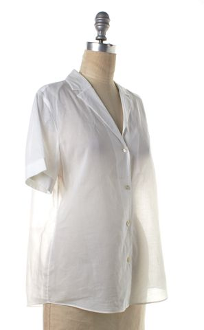 THEORY White Semi Sheer Cotton Button Down Shirt