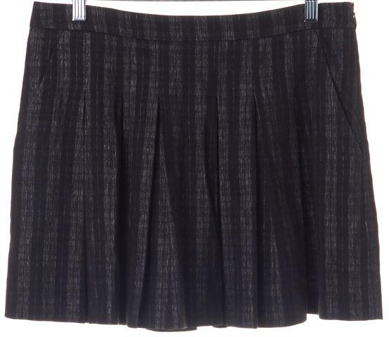 THEORY Black Gray Plaid Pleated Mini Skirt