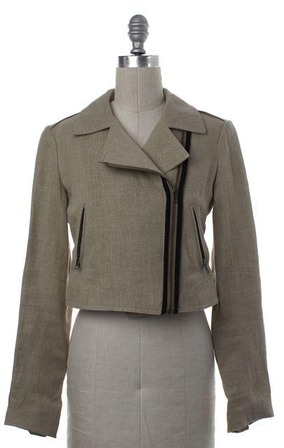 THEORY Beige Linen Zip Up Moto Jacket