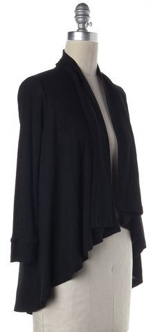 THEORY Black Wool Ribbed Asymmetric Hem Open Cardigan