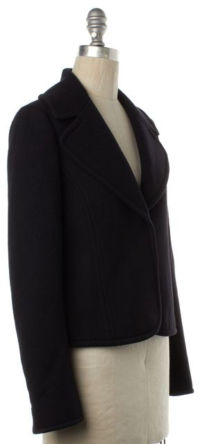 THEORY Black Wool Cropped Snap Front Jacket
