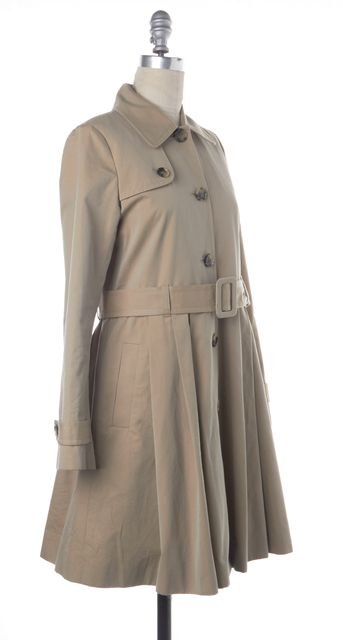 THEORY Beige Cotton Pleated Belted Trench Coat
