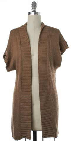 THEORY Beige Cotton Knit Open Cardigan Sweater