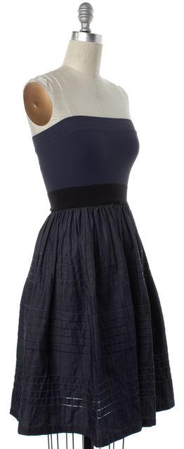 THEORY Navy Blue Black Striped Edan Greece Strapless Fit Flare Dress One Size