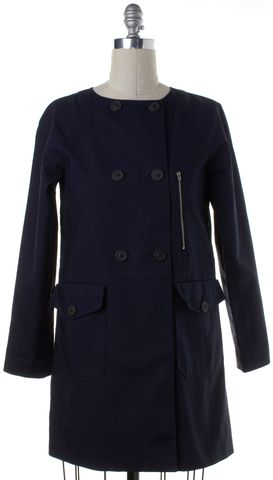 THEORY Navy Blue Cotton Double Breasted Jacket