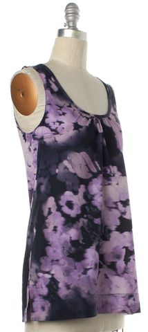 THEORY Purple Floral Print Tank Top