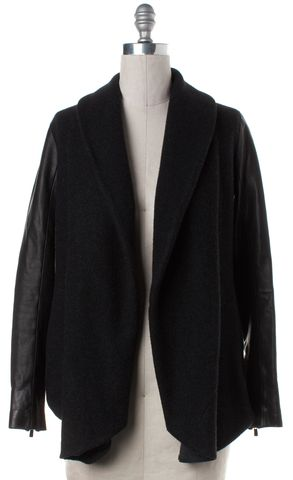 THEORY Gray Black Leather Sleeve Wool Open Jacket Fits Like a M