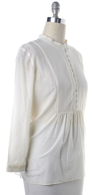 THEORY Ivory Button Down Long Sleeve Top