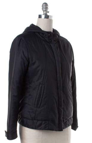 THEORY Navy Blue Hooded Zip Up Puffer Coat Fits Like a M