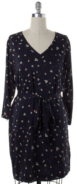 THEORY Blue Silk Kinley Chestnut Print Belted Shift Dress