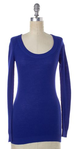 THEORY Blue Wool Knit Round Neck Top
