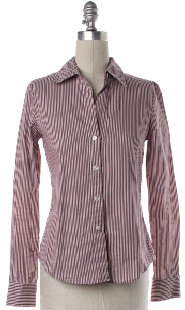 THEORY Burgundy Red White Striped Button Down Shirt