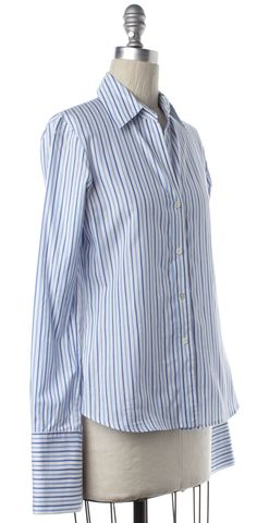 THEORY White Blue Striped Button Down Shirt