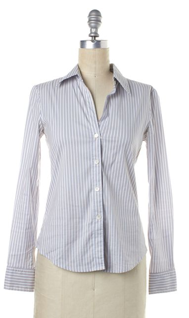 THEORY White Red Blue Striped Cotton Button Down Shirt