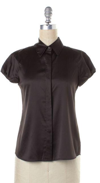 THEORY Brown Silk Button Down Shirt