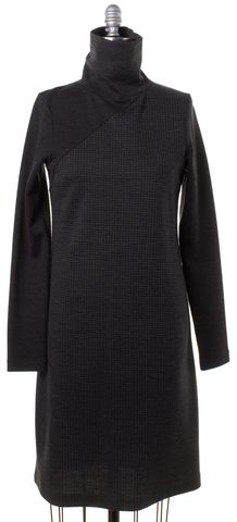 THEORY Gray Black Houndstooth Wool Mock Turtleneck Shift Dress
