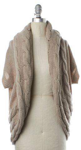 THEORY Beige Wool Short Sleeve Open Knit Cardigan
