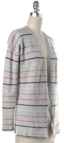 THEORY Gray Multi Color Striped Cashmere Cardigan Fits Like a M