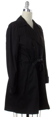 THEORY Black Double Breasted Trench Coat