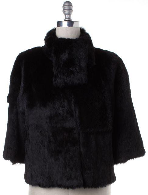 THEORY Black Mock Neck Rabbit Fur Coat