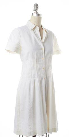 THEORY White Linen Short Sleeve Button Down Shirt Dress