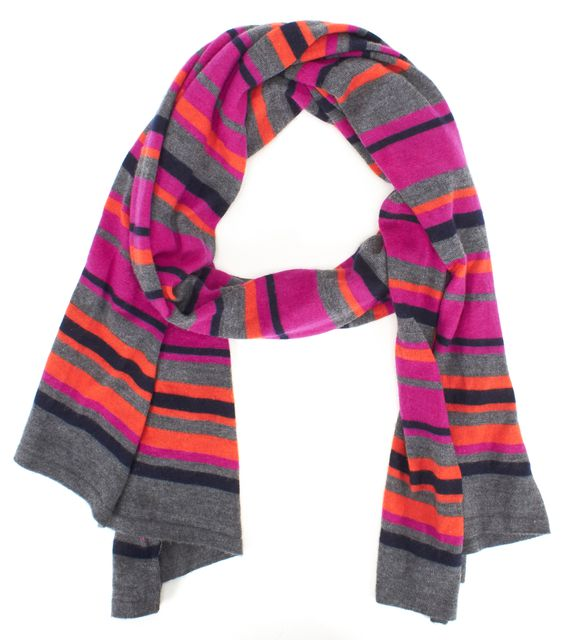 THEORY Purple Black Gray Orange Striped Cashmere Long Scarf