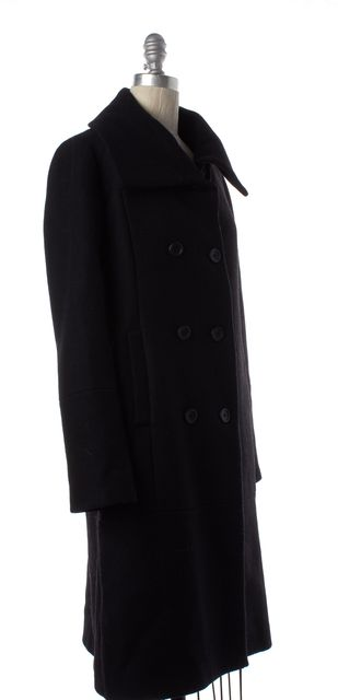 THEORY Black Wool Double Breasted Trench Coat