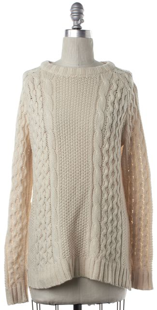THEORY Ivory Wool Open Cable Knit Crew Neck Sweater