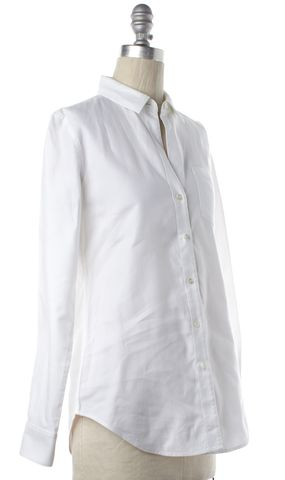 THEORY White Textured Cotton Button Down Shirt