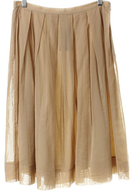 THEORY Camel Pleated Skirt