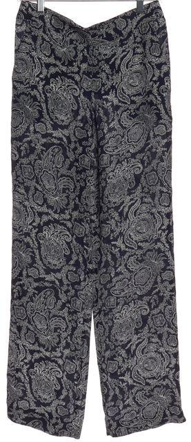 THEORY Blue Paisley Print Silk Casual Pants