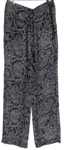 THEORY Blue Paisley Print Silk Casual Pants