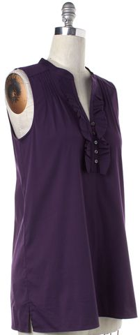 THEORY Purple Cotton Karalis Ruffled Sleeveless 1/2 Button Down Shirt