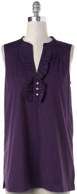 THEORY Purple Cotton Karalis Ruffled Sleeveless 1/2 Button Down Shirt