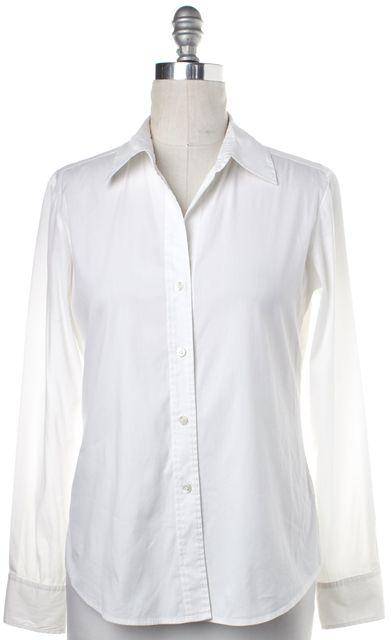 THEORY White Cotton V Neck Button Down Shirt