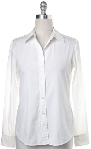 THEORY White Cotton V Neck Button Down Shirt