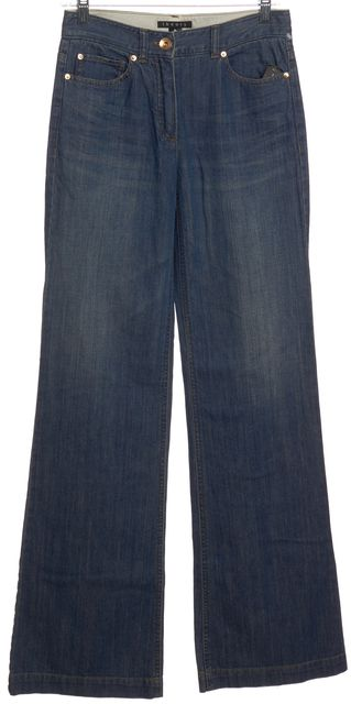 THEORY Blue Medium Wash Flare Leg Jeans
