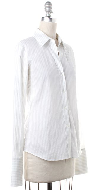 THEORY White Blue Gray Striped Button Down Shirt Top