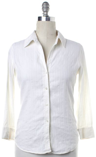 THEORY White Striped Linen Button Down Shirt